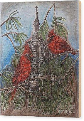 The Cardinals Visit St.pauls Cathedral Wood Print