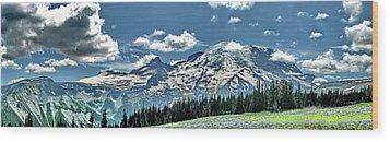 The Cascade Mountains And Mt. Rainier Wood Print