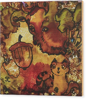The Cat And The Acorn Wood Print by Suzanne Canner