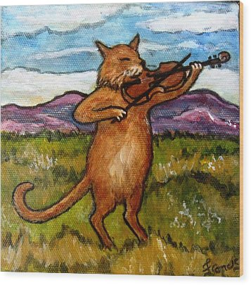 The Cat And The Fiddle Wood Print by Frances Gillotti
