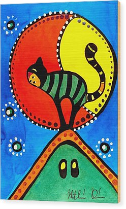 The Cat And The Moon - Cat Art By Dora Hathazi Mendes Wood Print by Dora Hathazi Mendes