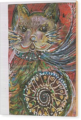 The Cat And The Wheel Wood Print by Anne-Elizabeth Whiteway