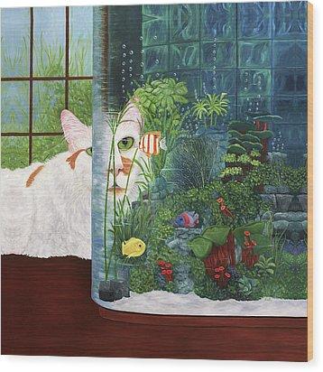 The Cat Aquatic Wood Print