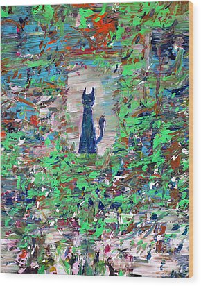 Wood Print featuring the painting The Cat In The Garden by Fabrizio Cassetta