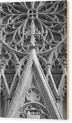 Wood Print featuring the photograph The Cathedral Of St. Patrick Close Up by Michael Dorn