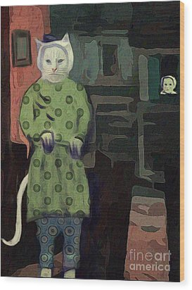 Wood Print featuring the digital art The Cat's Pajamas by Alexis Rotella