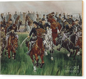 The Cavalry Wood Print by WT Trego