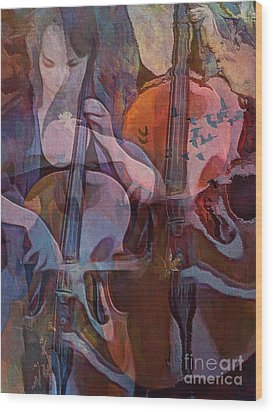 Wood Print featuring the digital art The Cellist by Alexis Rotella