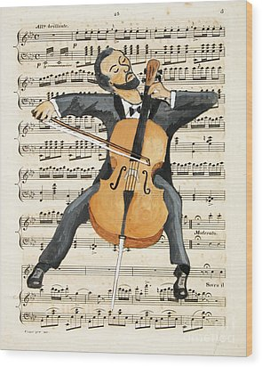 The Cellist Wood Print by Paul Helm
