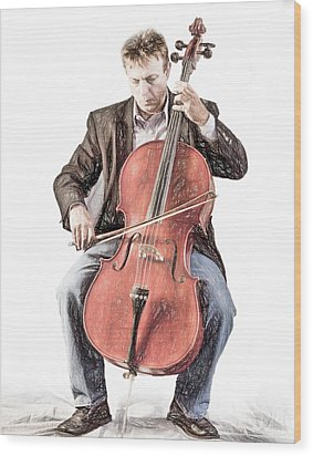 Wood Print featuring the photograph The Cello Player In Sketch by David and Carol Kelly
