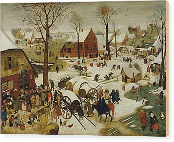 The Census At Bethlehem Wood Print by Pieter the Younger Brueghel
