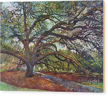 Wood Print featuring the painting The Century Oak by Hailey E Herrera