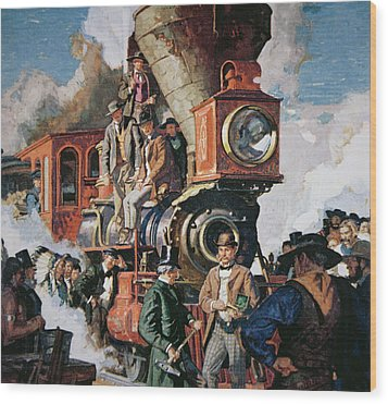 The Ceremony Of The Golden Spike On 10th May Wood Print by Dean Cornwall
