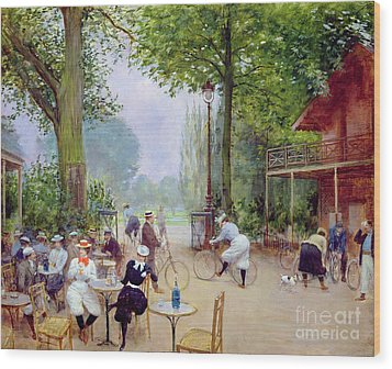 The Chalet Du Cycle In The Bois De Boulogne Wood Print by Jean Beraud