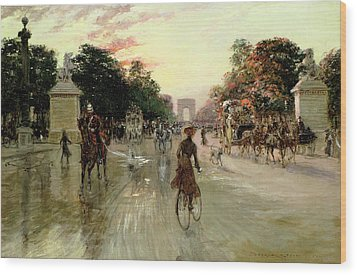 The Champs Elysees - Paris Wood Print by Georges Stein