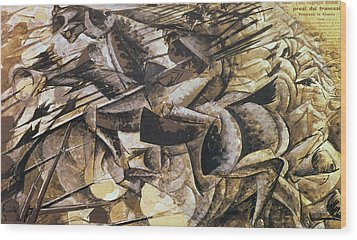 The Charge Of The Lancers Wood Print by Umberto Boccioni