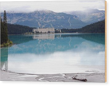 The Chateau At Lake Louise Wood Print
