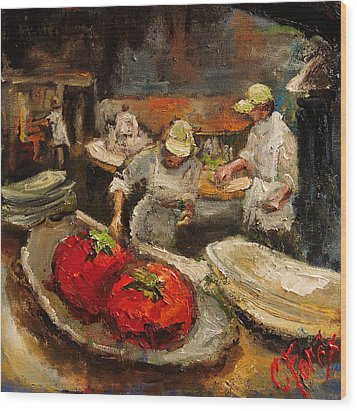 The Chefs Table At Hot And Hot Wood Print by Carole Foret