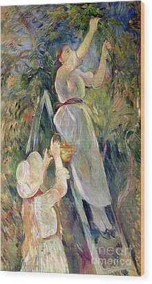 The Cherry Picker Wood Print by Berthe Morisot