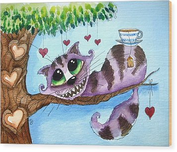 The Cheshire Cat - Tea Anyone Wood Print by Lucia Stewart