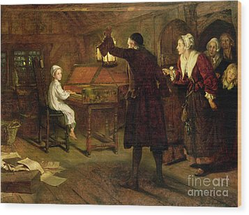 The Child Handel Discovered By His Parents Wood Print by Margaret Isabel Dicksee