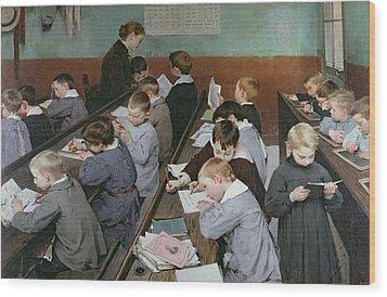 The Children's Class Wood Print by Henri Jules Jean Geoffroy