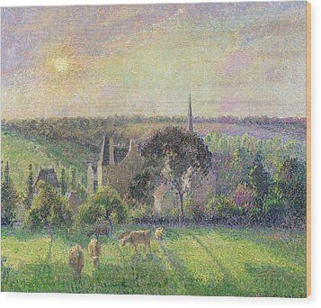 The Church And Farm Of Eragny Wood Print by Camille Pissarro