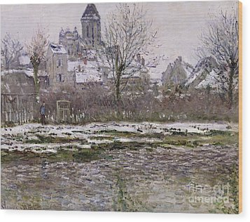 The Church At Vetheuil Under Snow Wood Print by Claude Monet