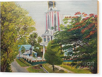 The Church In My Village Wood Print