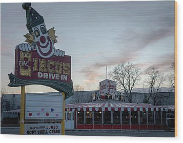 Wood Print featuring the photograph The Circus Drive In Wall Township Nj by Terry DeLuco