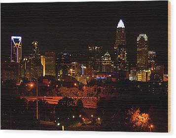 The City Of Charlotte Nc At Night Wood Print by Chris Flees