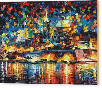 The City Of Valetta - Malta Wood Print by Leonid Afremov