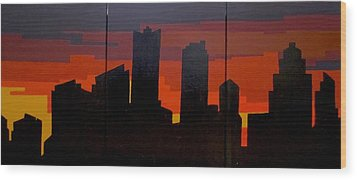 Wood Print featuring the painting The City Sleeps by Ashley Price