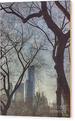 The City Through The Trees Wood Print