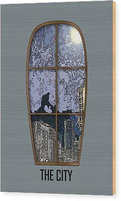 The City Window Wood Print by Simone Pompei