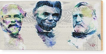 Wood Print featuring the mixed media The Civil War by Lisa McKinney