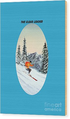 Wood Print featuring the painting The Clear Leader Skiing by Bill Holkham