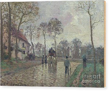 The Coach To Louveciennes Wood Print by Camille Pissarro