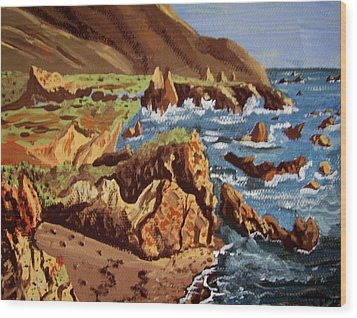 Wood Print featuring the painting The Coast by Judy Via-Wolff