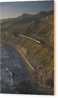 The Coast Starlight Train Snakes Wood Print by Phil Schermeister