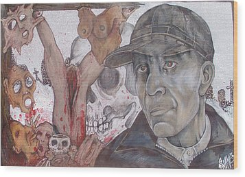 The Cold World Of Ed Gein Wood Print by Sam Hane