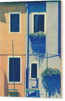 The Colors Of Burano Wood Print by Harvey Rogosin