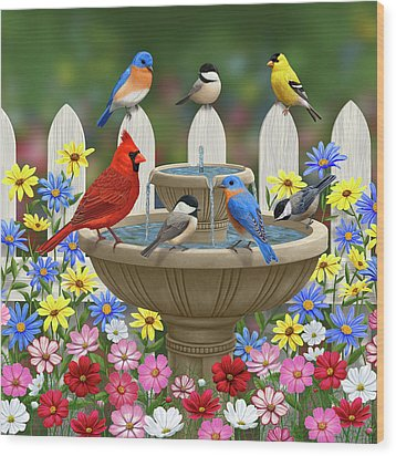 The Colors Of Spring - Bird Fountain In Flower Garden Wood Print