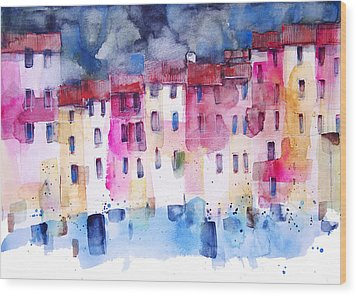 The Coloured Houses Of Portofino Wood Print by Alessandro Andreuccetti