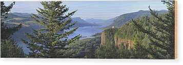 The Columbia River Gorge Vista House Panorama. Wood Print by Gino Rigucci