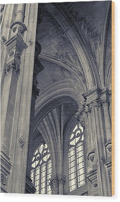 Wood Print featuring the photograph The Columns Of Saint-eustache, Paris, France. by Richard Goodrich