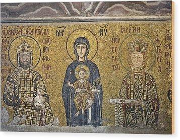 The Comnenus Mosaics In Hagia Sophia Wood Print by Ayhan Altun