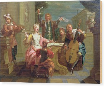 The Concert  Wood Print by Etienne Jeaurat
