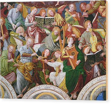 The Concert Of Angels Wood Print by Gaudenzio Ferrari