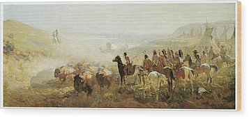 The Conquest Of The Prairie Wood Print by Irving R Bacon